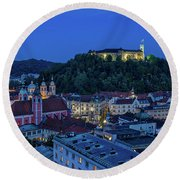 Round Beach Towel featuring the photograph View From The Skyscraper #2 - Slovenia by Stuart Litoff