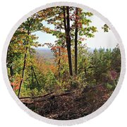 View From The Top Of Brown's Mountain Trail, Kings Mountain Stat Round Beach Towel