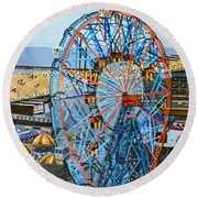View From The Top Of The Cyclone Rollercoaster Round Beach Towel