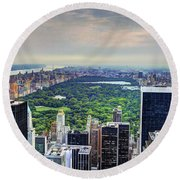 View From The Top Of The Rock Rockefeller Center Nyc II Round Beach Towel