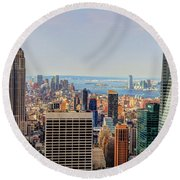 View From The Top Of The Rock Rockefeller Center Nyc  Round Beach Towel