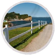 Round Beach Towel featuring the photograph View In Perce Quebec by Elena Elisseeva
