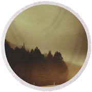 View Of Abandoned Country Road In Foggy Forest Round Beach Towel