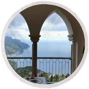 View Of Amalfi Coast Round Beach Towel
