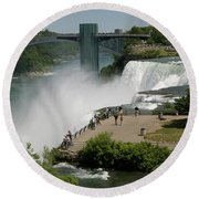 Round Beach Towel featuring the photograph View Of American Niagara Falls by Jeff Folger