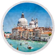 View Of Canal Grande Round Beach Towel