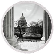 View Of Capitol Hill Through The Supreme Court Round Beach Towel