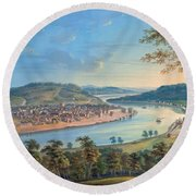 View Of Cincinnati From Covington Round Beach Towel by John Caspar Wild