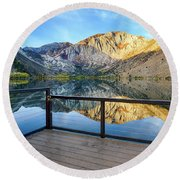 View Of Convict Lake Round Beach Towel