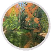 View Of Creek From Lake Huron Round Beach Towel