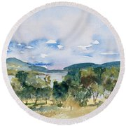 View Of D'entrecasteaux Channel From Birchs Bay, Tasmania Round Beach Towel