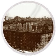 Round Beach Towel featuring the photograph View Of Harlem In 1950 by Marilyn Hunt