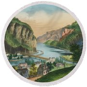 View Of Harpers Ferry, Virginia Round Beach Towel
