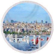 Round Beach Towel featuring the photograph View Of Istanbul by Fabrizio Troiani