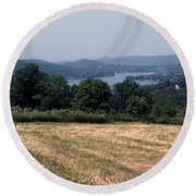 View Of Lake Waramaug Round Beach Towel
