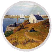 View Of Lorient In Brittany Round Beach Towel