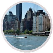 View Of Manhattan From Roosevelt Island Round Beach Towel by Sandy Taylor