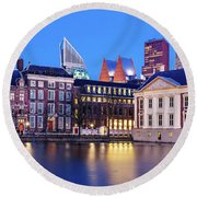 Round Beach Towel featuring the photograph View Of Mauritshuis And The Hofvijver - The Hague by Barry O Carroll