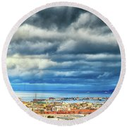 Round Beach Towel featuring the photograph View Of Messina Strait Sicily With Dramatic Sky by Silvia Ganora