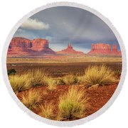 View Of Monument Valley Round Beach Towel
