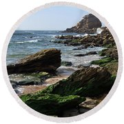 View Of Santa Rita Beach In Torres Vedras Round Beach Towel