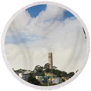 View Of Telegraph Hill Neighborhood San Francisco Round Beach Towel