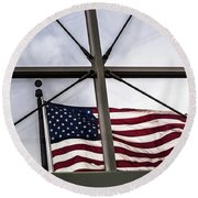 View Of The American Flag Through The Glass Dome Of The Overture Center Round Beach Towel
