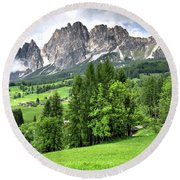 View Of The Dolomites Round Beach Towel