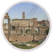 View Of The Forum In Rome Round Beach Towel