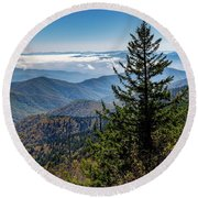 View Of The Great Smoky Mountains Round Beach Towel