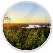 View Of The Lake Hiidenvesi At Sunset Round Beach Towel