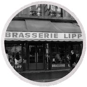 View Of The Lipp Restaurant In Saint Germain Des Pres In Paris On March 2, 1979 Round Beach Towel