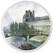 View Of The Pavillon De Flore Of The Louvre Round Beach Towel
