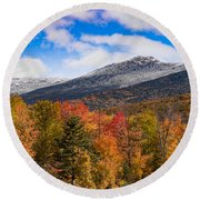 View Of The Presidential Mountains Round Beach Towel