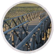 View Of The Wooden Bridge In Quinta Do Lago Round Beach Towel