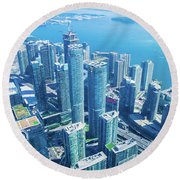 View Of Toronto Waterfront From Cn Tower Round Beach Towel