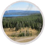 Round Beach Towel featuring the photograph View Of Yellowstone Lake From Top Of Trail by Marie Neder