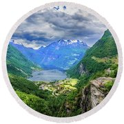 Round Beach Towel featuring the photograph View On Geiranger From Flydalsjuvet by Dmytro Korol