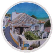 View On Obidos Round Beach Towel
