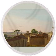 Round Beach Towel featuring the painting View On The Quirinal Hill. Rome by Simon Denis