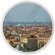 View On Venice Round Beach Towel by Patricia Hofmeester