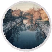 View Onto The River  Round Beach Towel