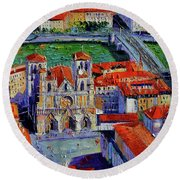 View Over Cathedral Saint Jean Lyon Round Beach Towel