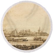 View Over The Amstel From The Rampart Round Beach Towel
