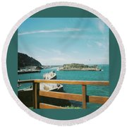 View Over The Ocean Port Round Beach Towel
