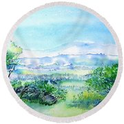 Round Beach Towel featuring the painting View Through The Gap,wicklow  by Trudi Doyle