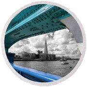 View Through Tower Bridge Round Beach Towel