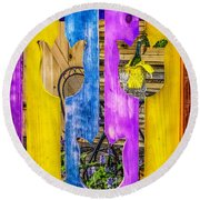 Round Beach Towel featuring the photograph View Thru The Fence by Nick Zelinsky