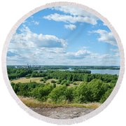 View To Lake Lohjanjarvi Round Beach Towel