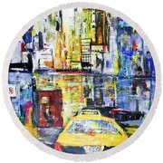 View To Manhattan Round Beach Towel